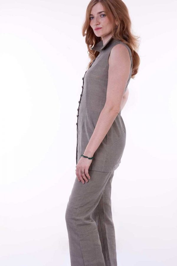 grey button down top trousers