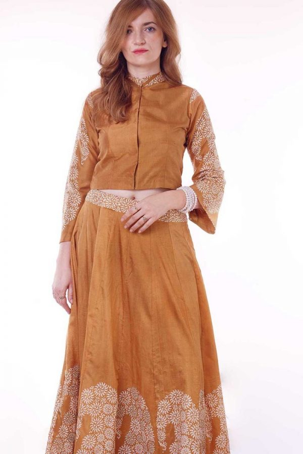 mustard cropped sleeve top and skirt